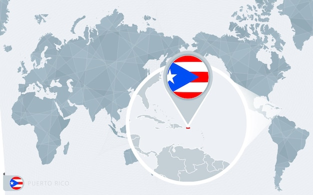 Mapa mundial centrado no pacífico com porto rico ampliado. bandeira e mapa de porto rico.