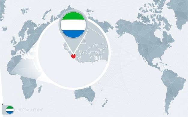Mapa mundial centrado no pacífico com serra leoa ampliada. bandeira e mapa da serra leoa.