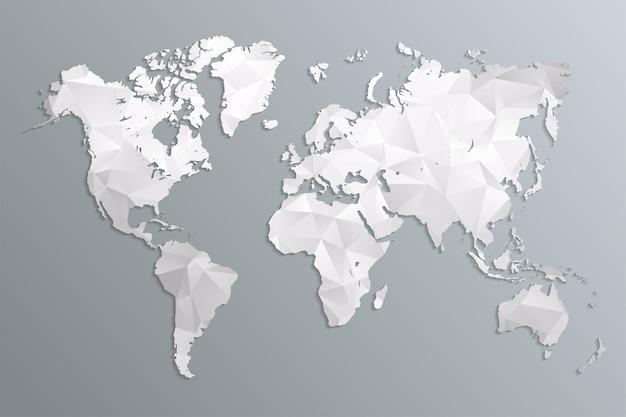 Mapa mundial cinza em estilo poligonal em fundo escuro.