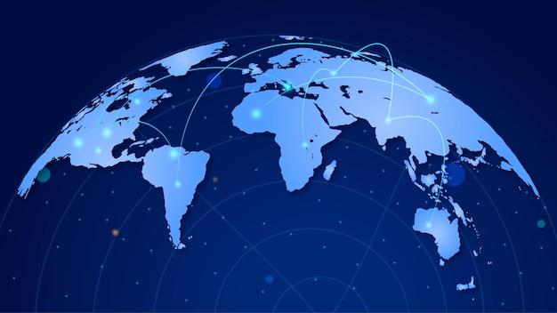 Mapa mundial com conexões de rede Vetor Premium
