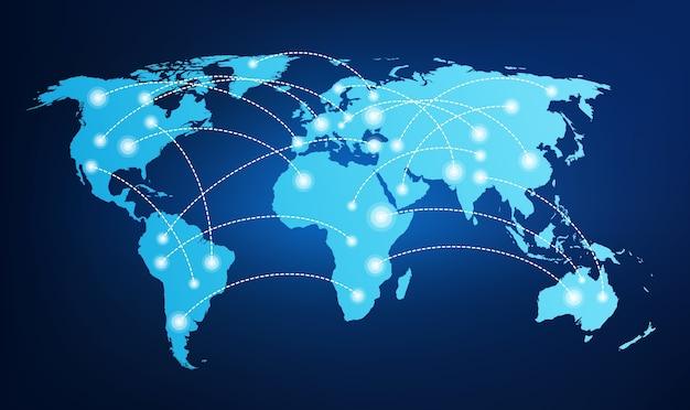 Mapa mundial com conexões globais.