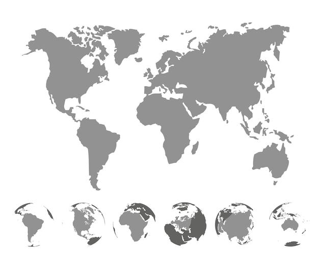 Mapa mundial com continentes em fundo branco. ilustração vetorial