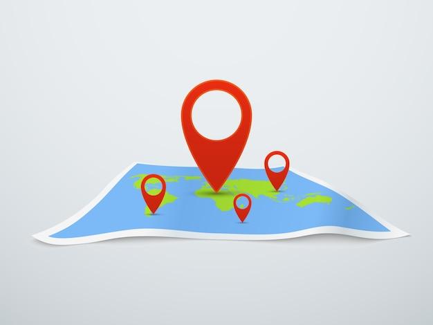 Mapa mundial com ilustração de alfinete