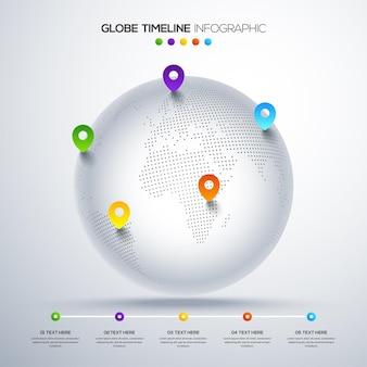 Mapa mundial com infográfico de ponteiro e opções de linha do tempo