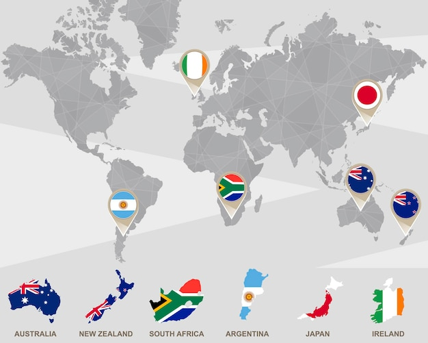Mapa mundial com ponteiros da austrália, nova zelândia, áfrica do sul, argentina, japão e irlanda. ilustração vetorial.