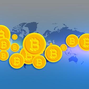 Mapa mundial com símbolos de bitcoins flutuantes