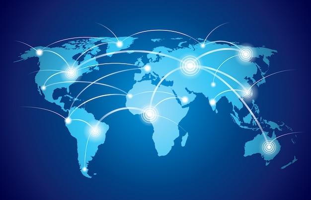 Mapa mundial com tecnologia global ou rede de conexão social com ilustração vetorial de nós e nós
