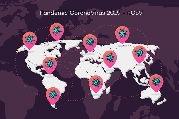 Mapa mundial de pandemia de coronavírus