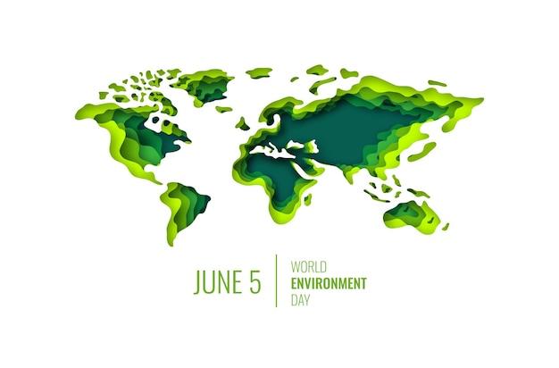 Mapa mundial do conceito ecológico do dia mundial do meio ambiente em estilo recortado