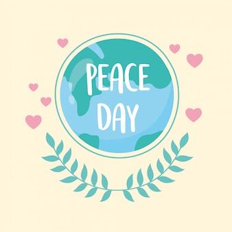 Mapa mundial do dia internacional da paz deixa corações e amor ilustração vetorial