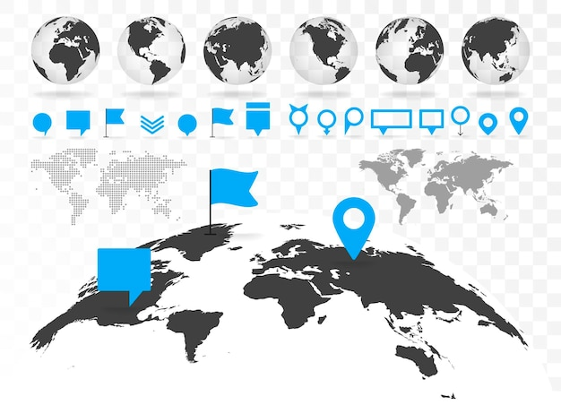Mapa mundial e globo 3d com elementos de infográficos. informações de design, gráfico de negócios e gráfico. ilustração vetorial