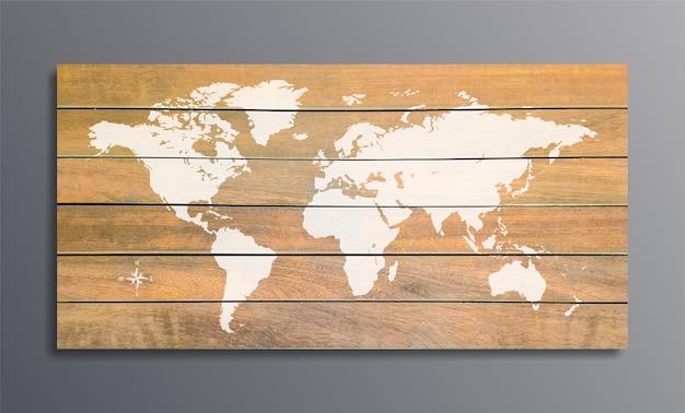 Mapa mundial em uma textura de fundo de pranchas de madeira na parede cinza