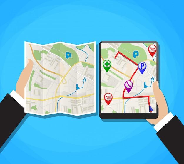 Mapa mundial. navegação gps móvel.