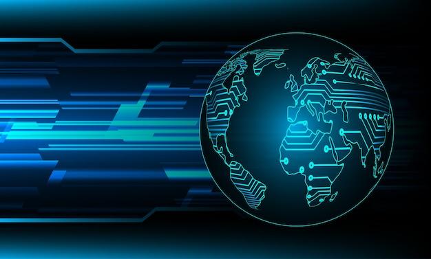 Mapa mundo azul fundo de tecnologia abstrato de luz para gráfico de computador.