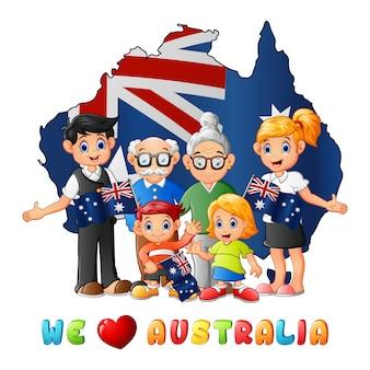 Mapa nacional da bandeira do dia de austrália com família grande