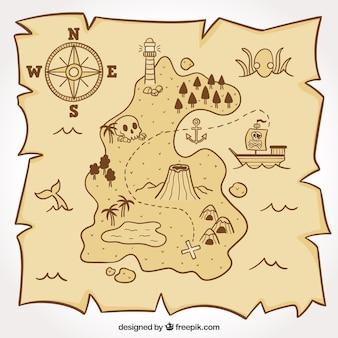 Mapa pirata para a caça ao tesouro
