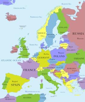 Mapa político da europa.