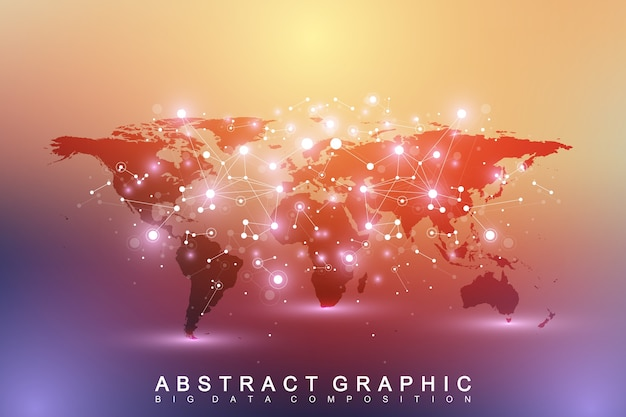 Mapa político do mundo com o conceito de rede de tecnologia global. visualização de dados digitais.