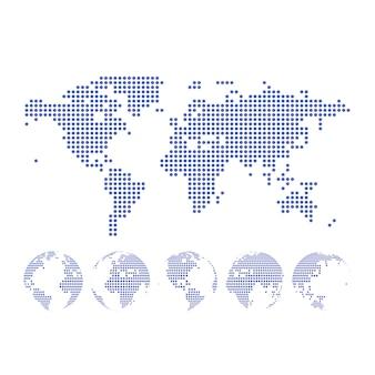 Mapa pontilhado e globo do mundo