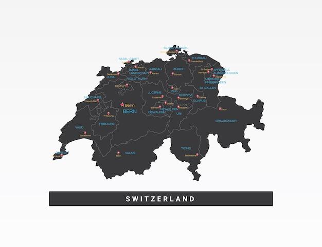 Mapa preto da ilustração vetorial da suíça.