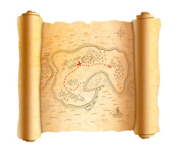 Mapa realista pirata antigo da ilha no pergaminho antigo com caminho vermelho para o tesouro