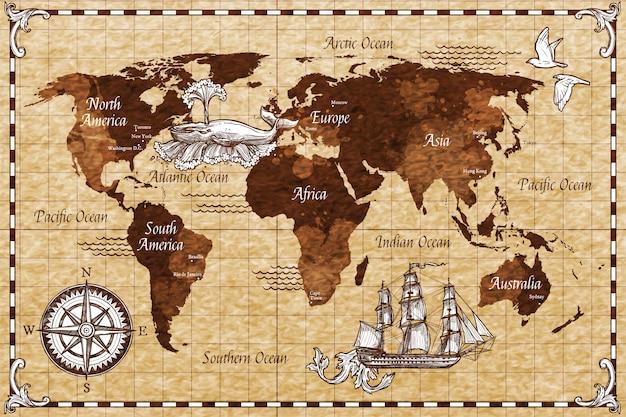 Mapa retrô de mão desenhada