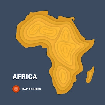 Mapa topográfico da áfrica. conceito de cartografia com ponteiro de mapa