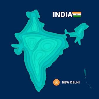 Mapa topográfico da índia. conceito de cartografia 3d