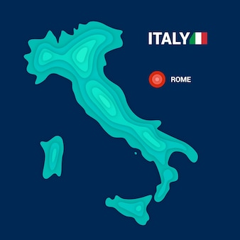 Mapa topográfico da itália. conceito de cartografia