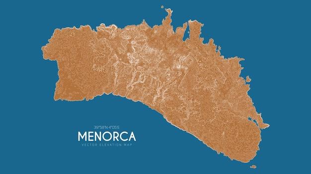Mapa topográfico de menorca, ilhas baleares, espanha