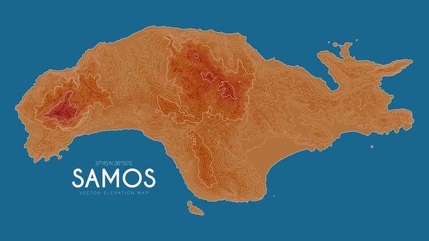 Mapa topográfico de samos, grécia