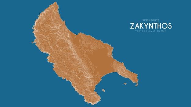Mapa topográfico de zakynthos, grécia. mapa de elevação detalhado de vetor da ilha