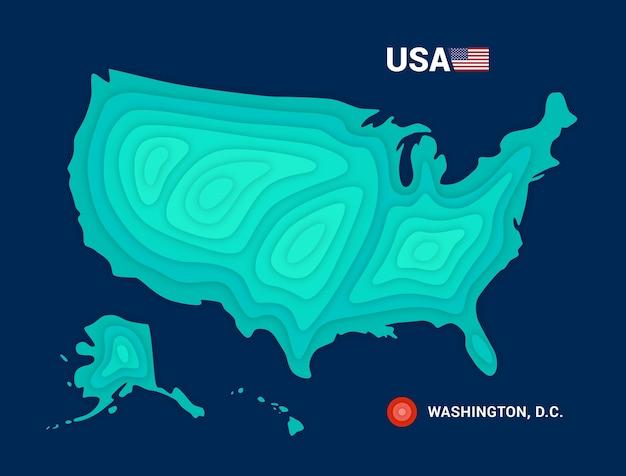 Mapa topográfico do conceito de cartografia dos eua