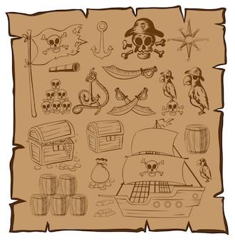 Mapa treassure com símbolos piratas