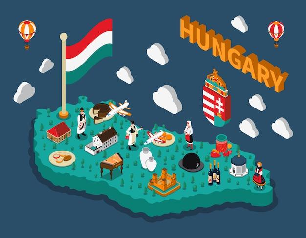 Mapa turístico isométrico de hungria