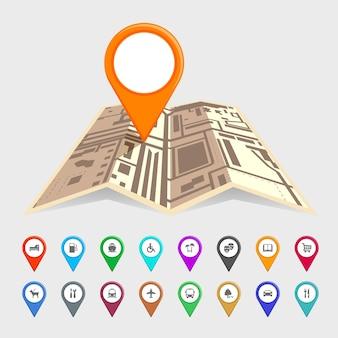 Mapa urbano com um conjunto de ícones de ponteiro