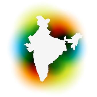 Mapa vetorial elegante da índia em fundo colorido