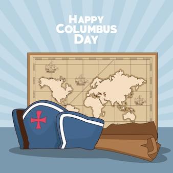 Mapa vintage e feliz dia de colombo design