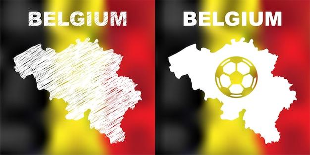 Mapas belgas abstratos definidos no fundo da bandeira e bola de futebol. mapa da bélgica