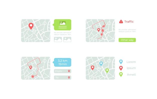 Mapas com kit de elementos de iu de rotas