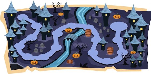 Mapas de jogos 2d de castelo de halloween com níveis de caminho
