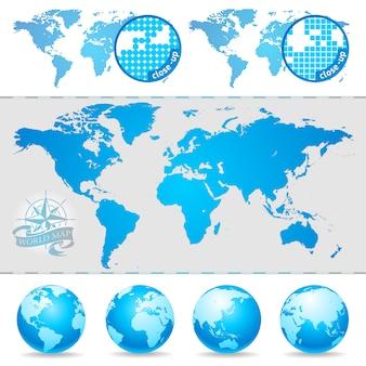 Mapas do mundo e globo