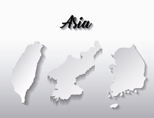 Mapas do país do continente asiático