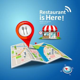 Mapas dobrados com marcadores de ponto de cor vermelha, restaurante é aqui plano de fundo, ilustração