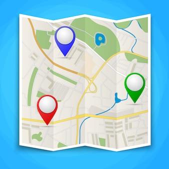 Mapas dobrados com marcadores de ponto de cor