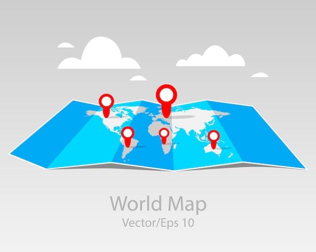 Mapas dobrados, mapa-múndi com infográfico. com marcadores de ponto, design plano.