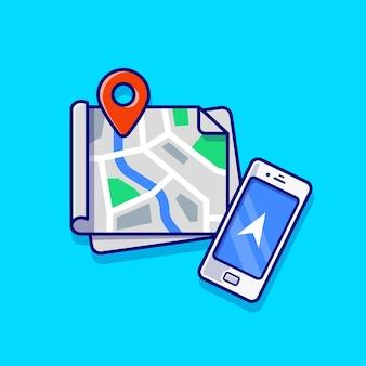 Mapas localização e ilustração do ícone dos desenhos animados do telefone. conceito de ícone de tecnologia de transporte isolado. estilo flat cartoon