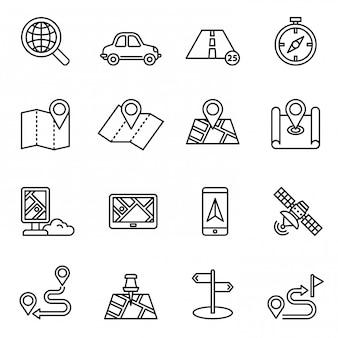 Mapas, localização e navegação conjunto de ícones.