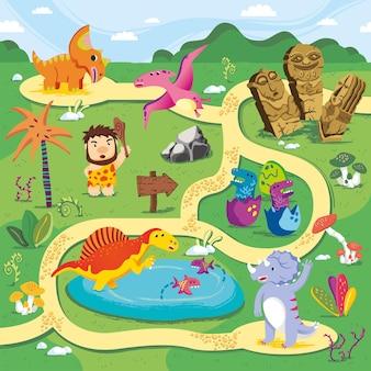 Mapas terrestres de dinossauros com desafio de labirinto de estradas para crianças.