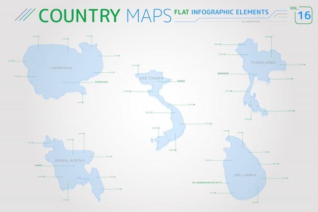 Mapas vetoriais de camboja, tailândia, vietnã, bangladesh e sri lanka